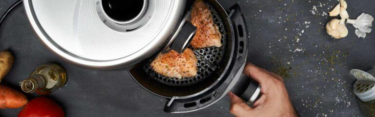 Recetas para freidora sin aceite, prepara carne y pescado.